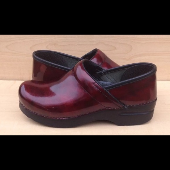 Womens Dansko Red Marbled Leather Clogs
